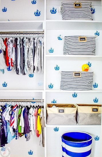 DIY Closet Shelves & Rods Under $100, nursery closet, organization, built ins, bookcases, custom closet, nursery closet organization, faux wallpaper, kids closet, kids organization, diy built in closet, diy custom closet, cheap closet organization, amazon, closet bins, closet shelving, diy shelving, cheap shelving, easy shelving, easy closet organization, easy custom closet, easy built ins, kids room, nursery, gender neutral nursery, faux wallpaper diy, boat themed nursery, nautical theme, nautical themed nursery,