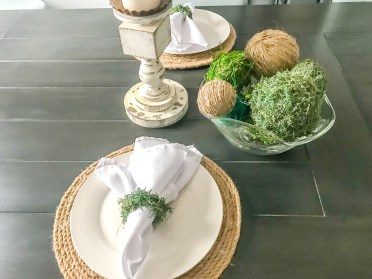 moss, faux moss, dollar tree moss decor, moss napkin rings, vase fillers, diy vase filler, budget savvy moss decor, diy moss vase fillers, spring tablescape, summer tablscape, nuetral tablescape, farmhouse decor, farmhouse moss decor, dollar tree farmhouse decor