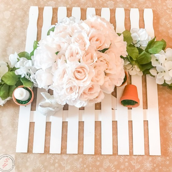 picket fence, spring decor, farmhouse decor, easter decor, garden decor, garden party, easter party, easter table, placemat, diy, paint stick project, cheap farmhouse decor, cheap decor, spring table, spring farmhouse decor, placemats, Lowes, rustoleum