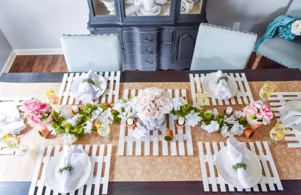 spring decor, spring, dollar tree spring decor. farmhouse spring decor, spring tablescape, spring table, spring party, Easter, Easter tablescape, Easter decor, farmhouse Easter decor, dollar tree Easter decor, dollar tree, easter party, diy picket fence, garden party, garden theme decor, greenery, flowers, Michaels, diy napkin rings, moss decor