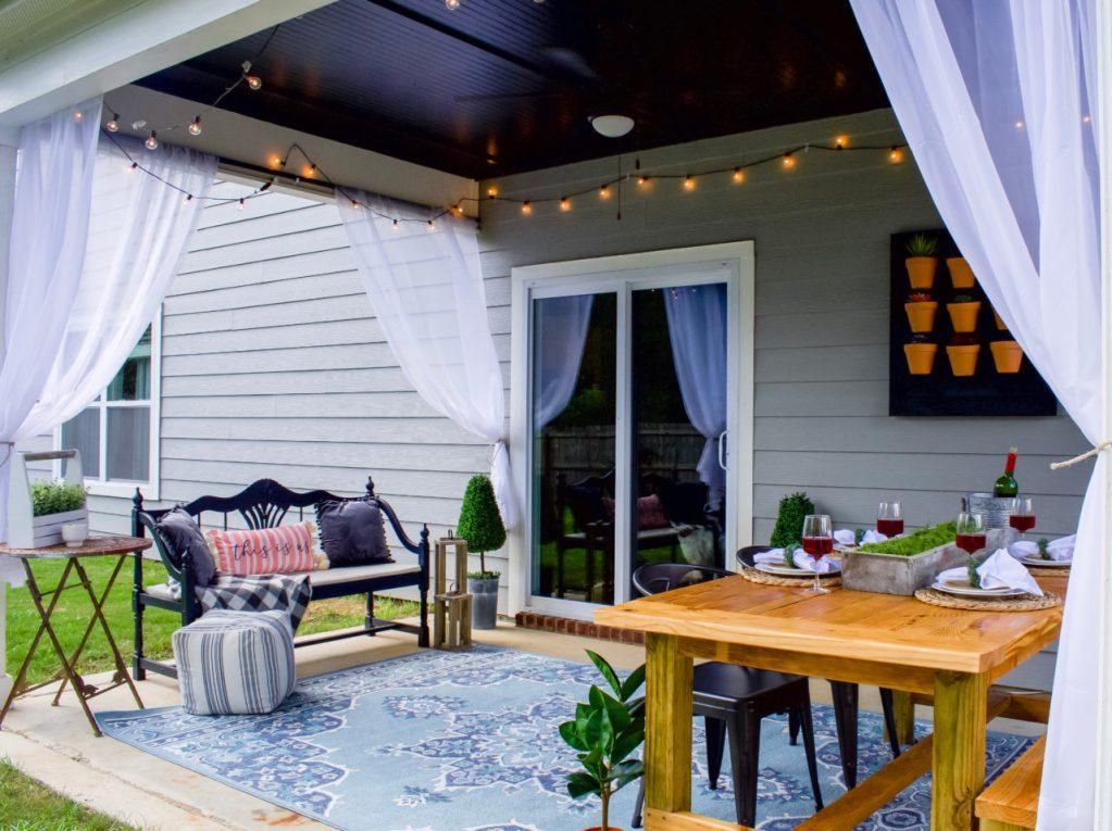 Small Outdoor Patio Ideas + Patio Reveal ~ Southern Yankee DIY on Diy Backyard Patio Cheap id=16622