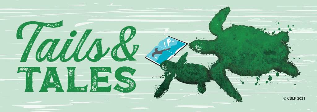 A green turtle with a smaller green turtle reading a book with the words Tails & Tales