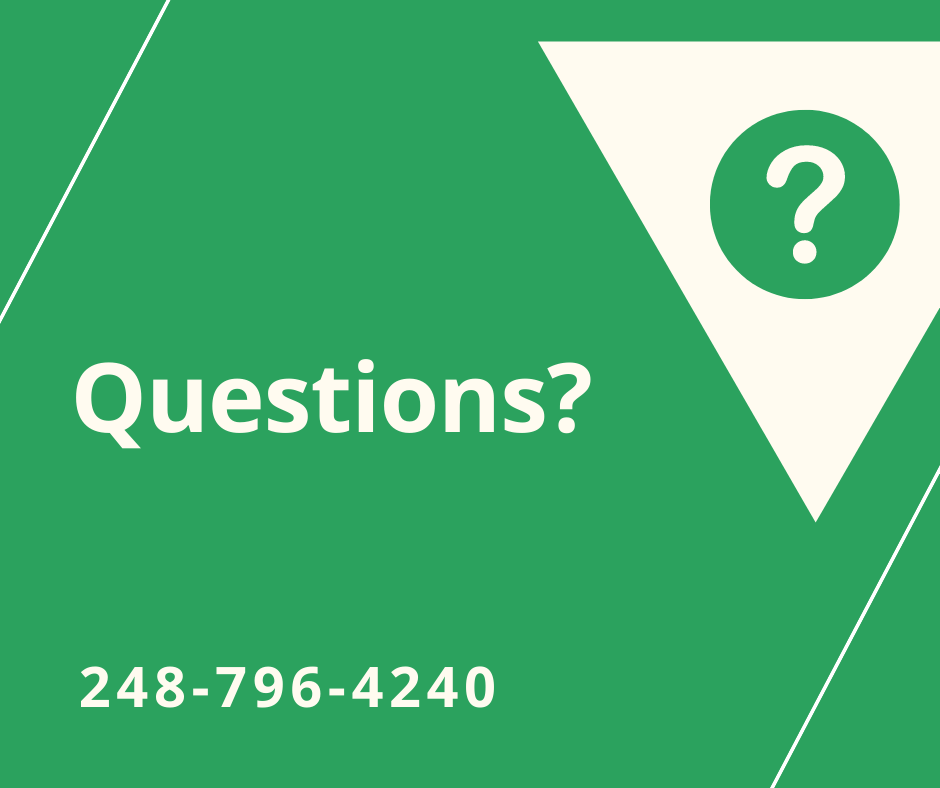 Green background with a question mark inside a white triangle with the words Questions 248 796 4240