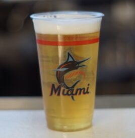 having a drink at Marlins Park