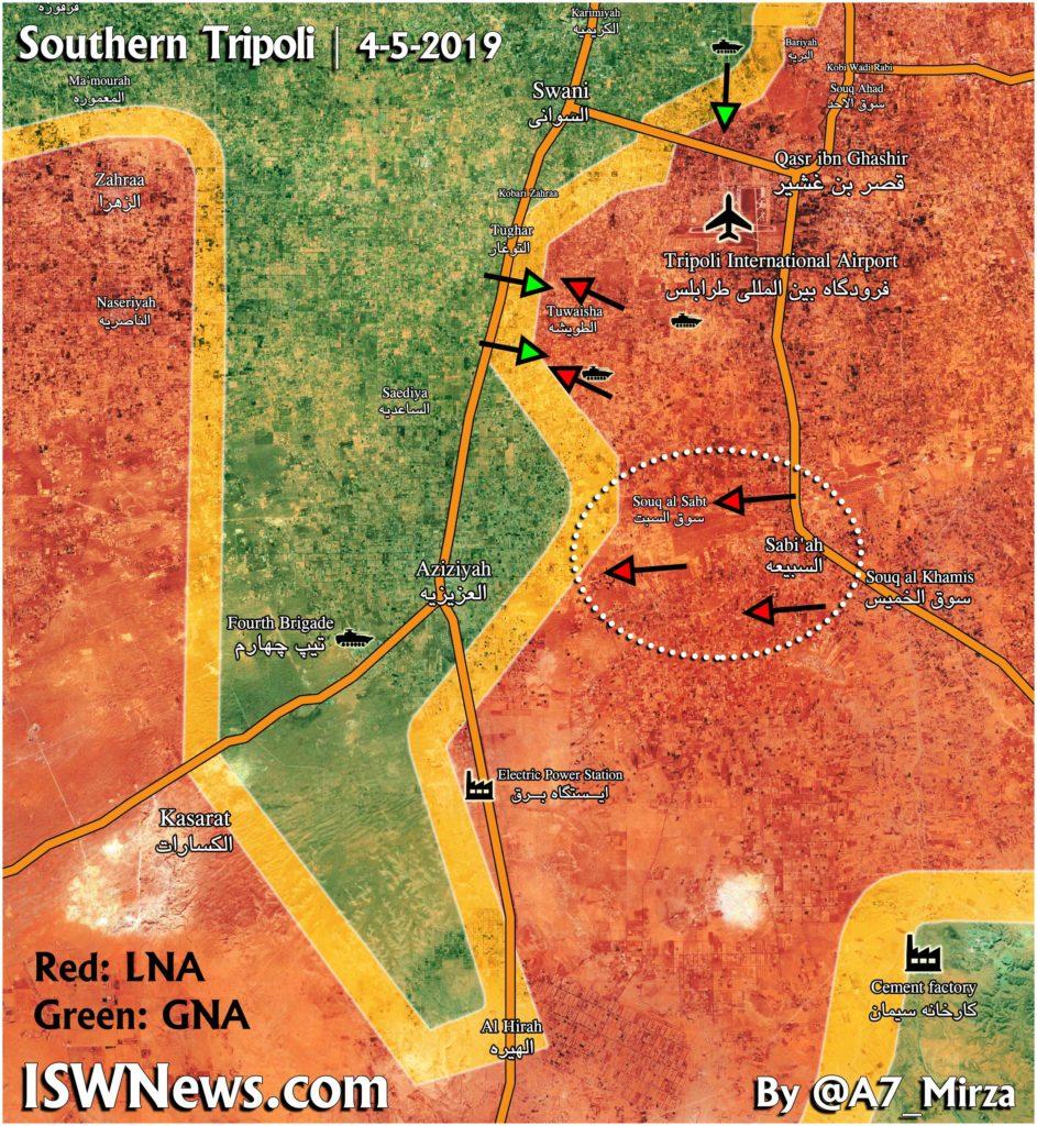 Aktualizácia mapy: Vojenská situácia v južnom Tripolise v Líbyi