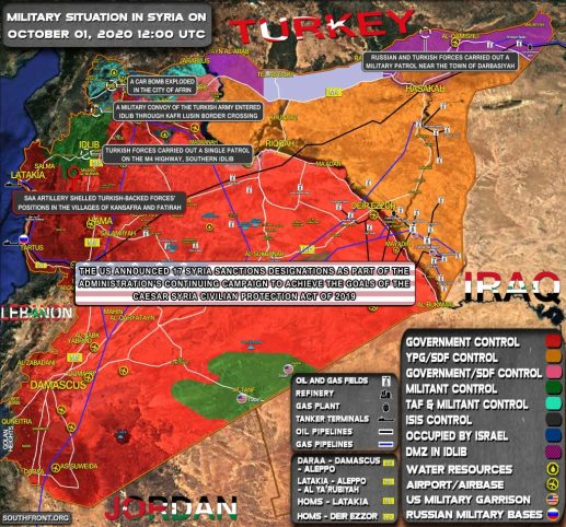 Military Situation In Syria On October 1, 2020 (Map Update)