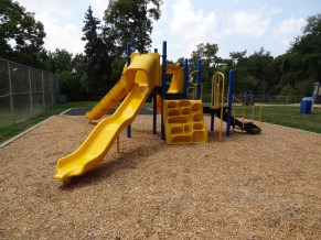 play area, with climbing wall