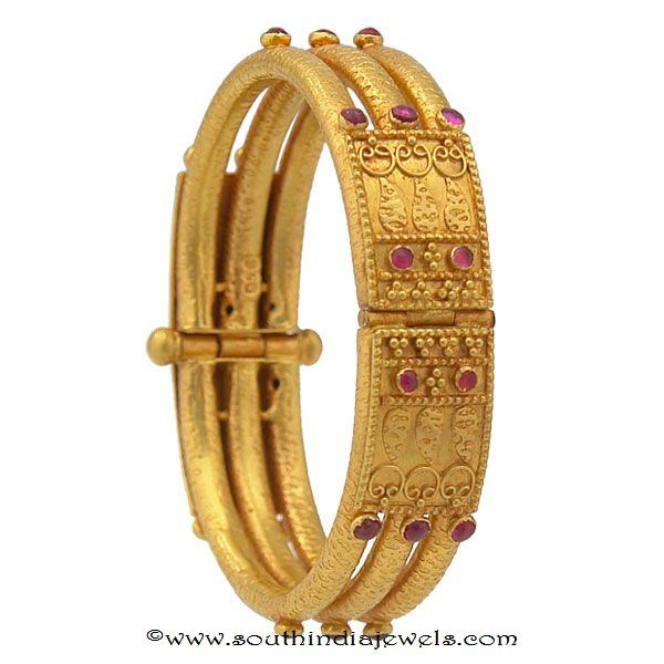 4 Antique Gold Kada Bangles From Prince Jewellery South