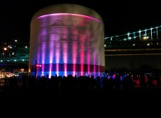 Performance stage against the water tower
