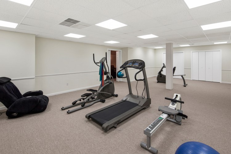 the finished basement workout room