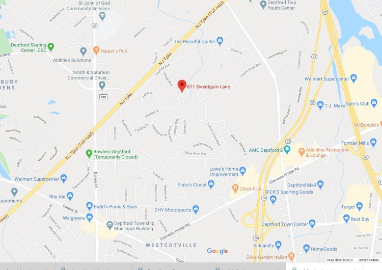 map location of 611 Sweetgum Lane