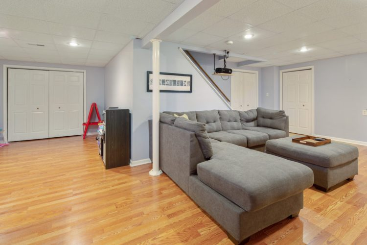 The finished basement at 2 Linden Drive