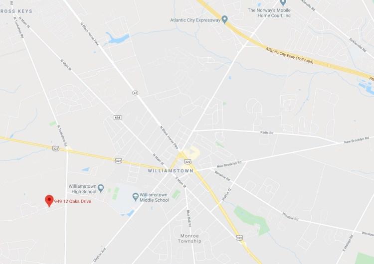 Map location of 949 Twelve Oaks Drive Williamstown NJ