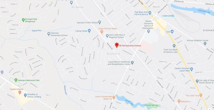 Detailed map location of 38 Pennsylvania Avenue Stratford NJ 08084