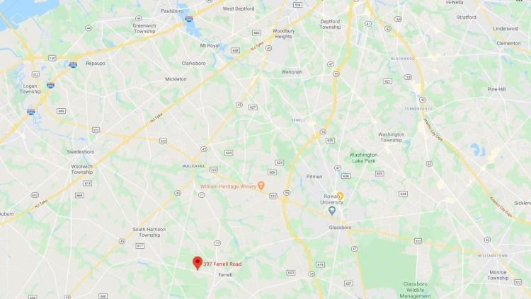 Map location of 397 Ferrell Road Mullica HIll
