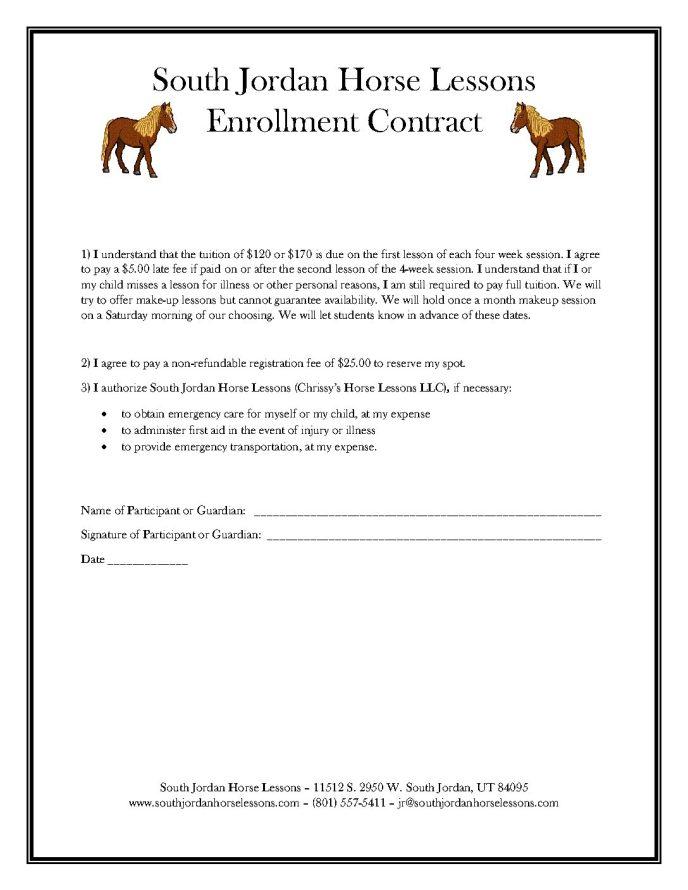Horse Lessons Enrollment Contract