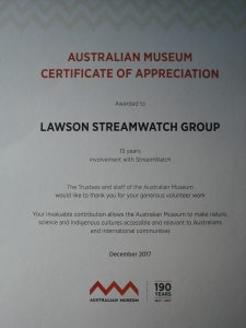 Certificate of Appreciation December 2017 (Photo: P Ardill