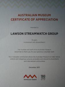 Certificate of Appreciation December 2017 (Photo: P Ardill
