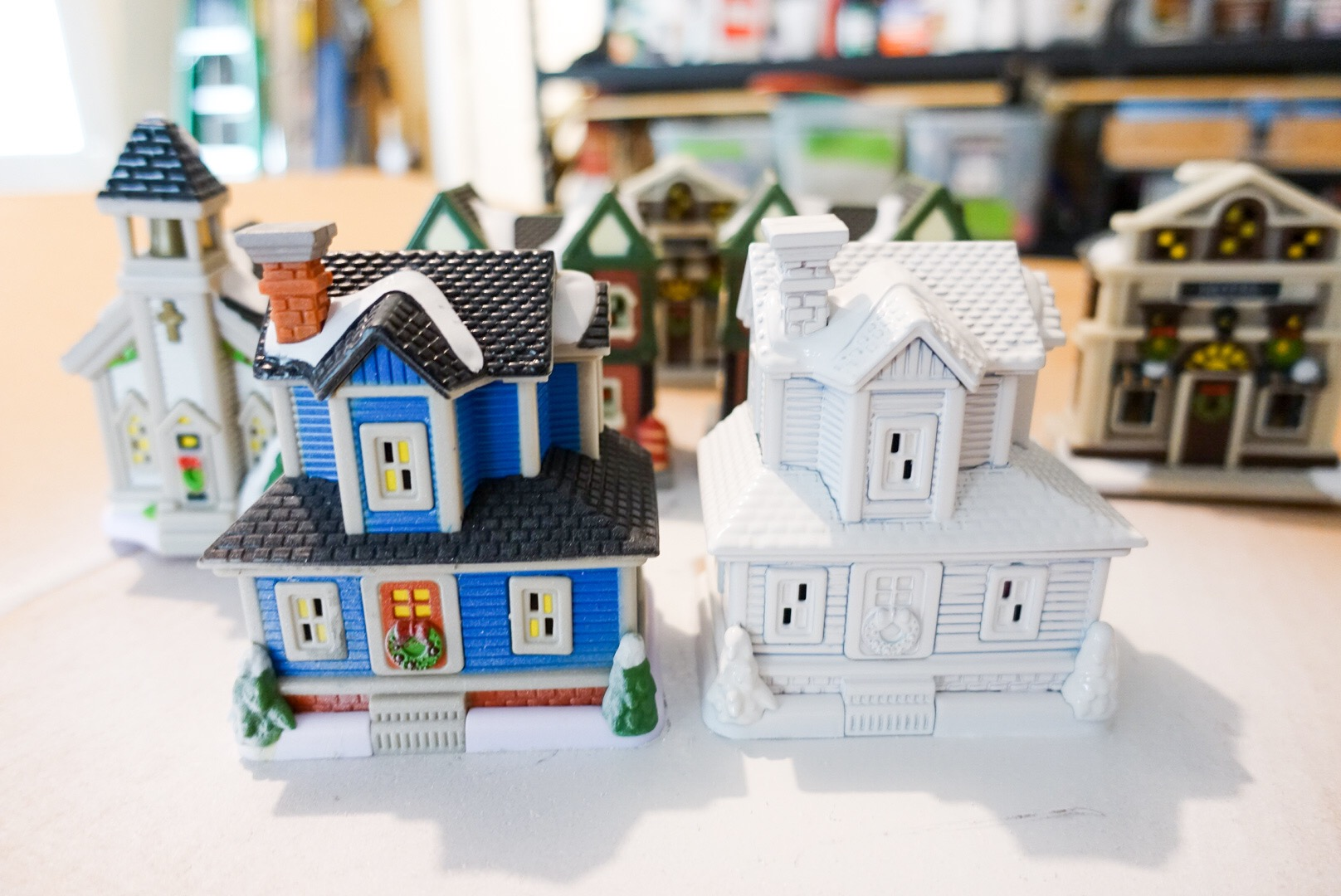 How To Store Christmas Village Houses.Dollar Store Christmas Village Houses Painted White South