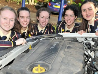 Loreto Grammar School pupils Hannah Sheedy, Anna Allen, Dervla Foley, Orla Godfrey and Sinead Gibbons