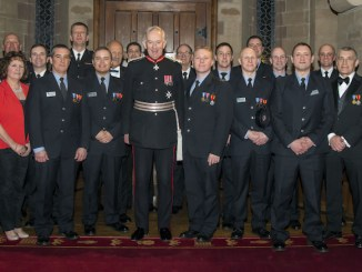 Medal recipients pictured with Cheshire's Lord Lieutenant David Briggs, Chief Fire Officer Paul Hancock and Chair of the Fire Authority ,Cllr John Joyce, at an awards evening