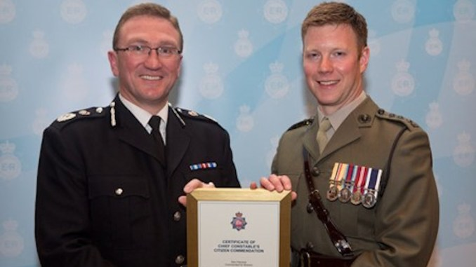 GMP Chief Constable Ian Hopkins and Captain Sam Hairsine