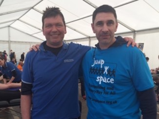 Duncan Mason from Athlete Matters with Jump Space patron Paul Lake
