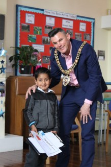Cllr Carl Austin-Behan with Mohammed Jawed at Crowcroft Park Primary School in Longsight