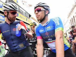 Sir Bradley Wiggins (left) and fellow Olympic gold medallist Owain Doull in Tour of Britain