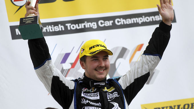 Tom Ingram celebrates his win at Silverstone