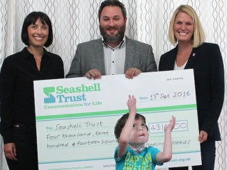 Alison Parker, Operations Manager, The fresh Group;Patrick Howells, Managing Director, The fresh Group; Lene Corgan, Executive Committee Member of Meeting Needs with Seashell Trust student Alex McLaughlin