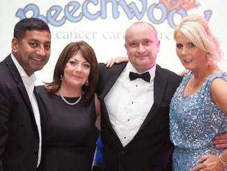 Salim and Beverley Uddin-Khandakar, Scott Cooke and Angela Gray at the Salutions Winter Wonderland Charity Ball