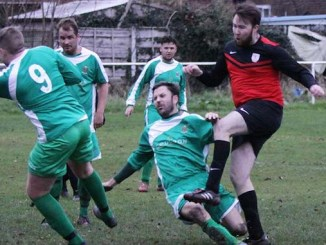 Whalley Range seconds v Hooley Bridge Celtic (Celtic in green)