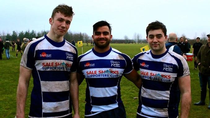 The Manchester Grammar School's Charlie Pozniak, Abdul Khan and Sol Neild are representing Sale Sharks Under-18 Academy (Eugene Pozniak)