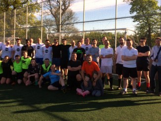 Players before kick-off at the Ashfield Healthcare Communications football tournament in Macclesfield