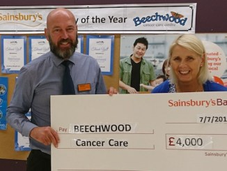 Michael Broadhurst, store manager at Sainsbury's Cheadle with Angela Grey from Beechwood