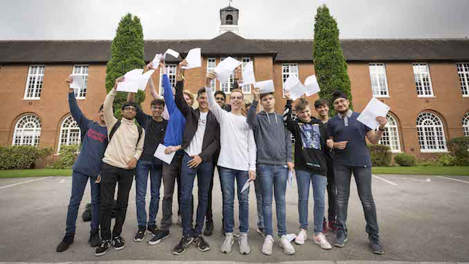 Pupils at The Manchester Grammar School celebrating their GCSE results