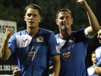 Jimmy Ball and Harry Winter celebrate County's against Southport (James Gill)