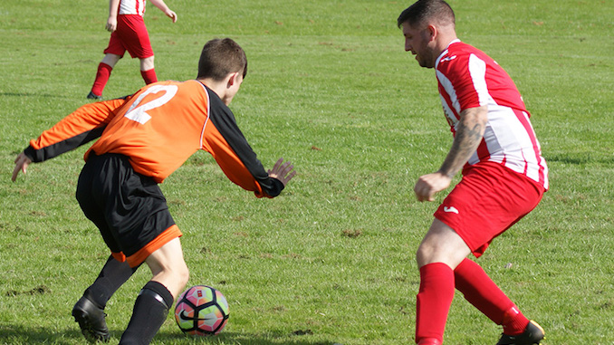 Dom Doyle v Irlam Tigers (Dom Doyle in red and white)