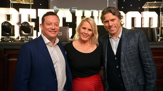 John Stevenson from sponsors Pareto FP, Beechwood's Angela Gray and John Bishop