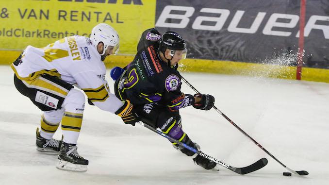 Luke Moffatt on the ice for Manchester Storm against Nottingham Panthers