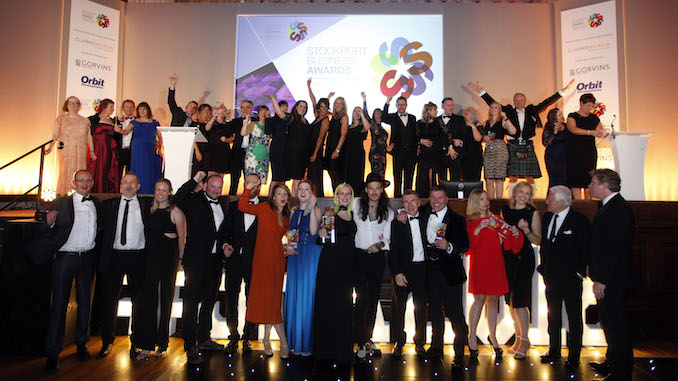 The Stockport Business Awards 2018 winners on stage