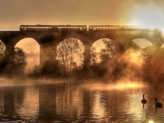 John Varley's winning photo of Reddish Vale viaduct
