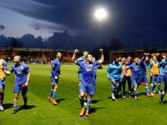 County celebrate getting through to the second round of the FA Cup