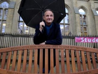 Mark Radcliffe and his bench at the University of Manchester
