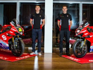 Christian Iddon and Josh Brookes at the Paul Bird Motorsport launch in London
