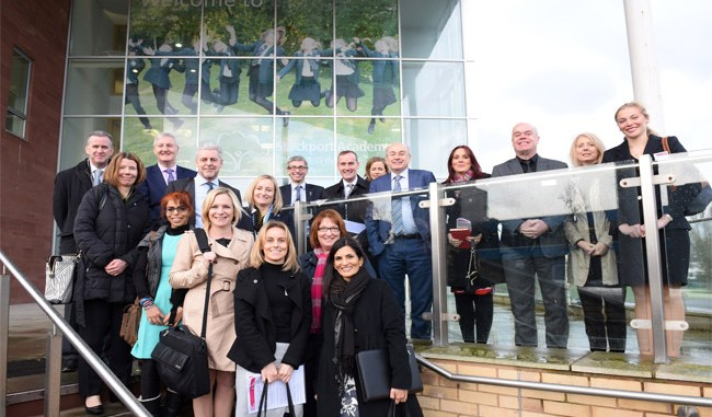 Delegates outside the Stockport Academy
