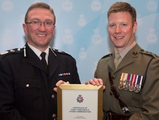 GMP Chief Constable Ian Hopkins and Captain Sam Hairsine