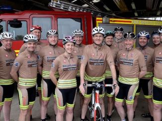 Proudly sporting shirts sponsored by industrial workwear specialist Ballyclare Limited are the Oxfordshire Fire and Rescue Service cycle team, who recently completed a marathon fundraising trek from John O'Groats to Land's End.