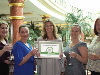 Pesto Italian Restaurant Group Co-owner Sara Edwards (centre) toasts the restaurant group's multi-award winning success with General Managers Laura Shannon, Gizela Kalkucka, Jo Taylor and Natelle Scott